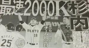 杉内2000奪三振達成