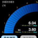 京都のソフトバンクのLTEスピード~京都市南区~2012/12/07