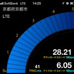 京都市右京区のソフトバンクのLTEスピード~円町~2012/12/07