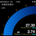 京都市右京区のソフトバンクのLTEスピード~西院~2012/12/07