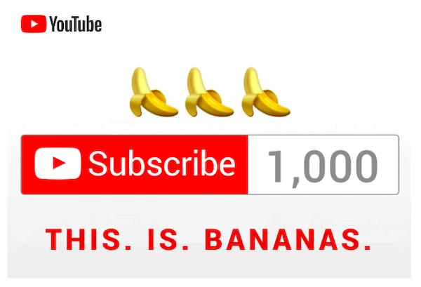 チャンネル登録1000